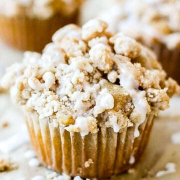 coffee cake muffins on parchment paper with icing