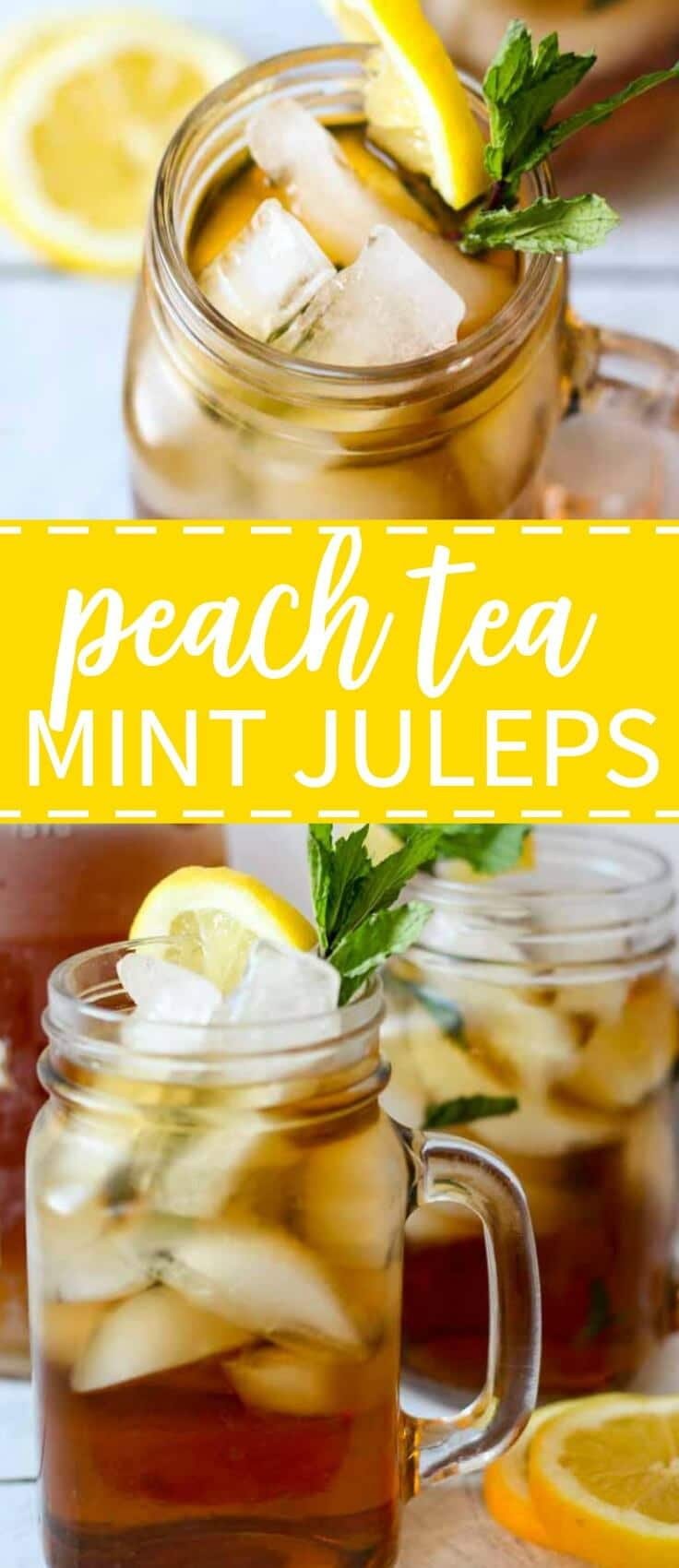 There is not Derby celebration without mint juleps. These mint juleps have a little twist to them with peach tea infused. They're sweet and fresh and the perfect accessory to your big hat!