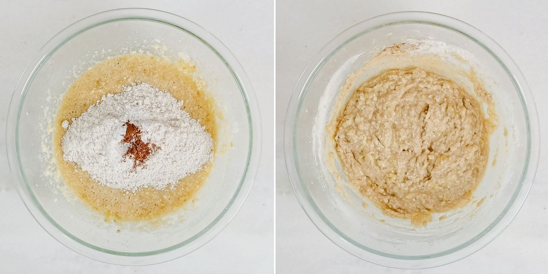 collage of two steps showing how to make banana muffin batter