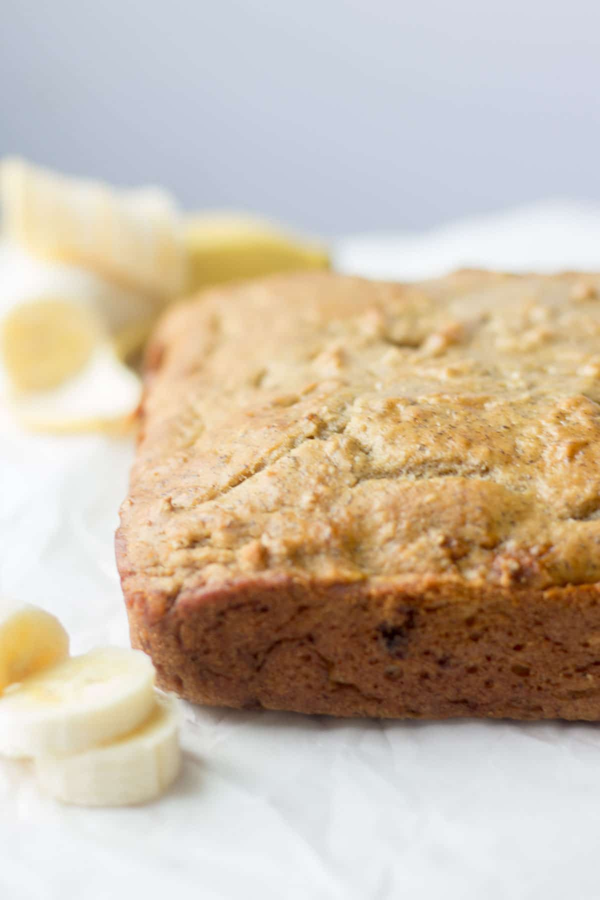 banana cake on a piece parchment paper
