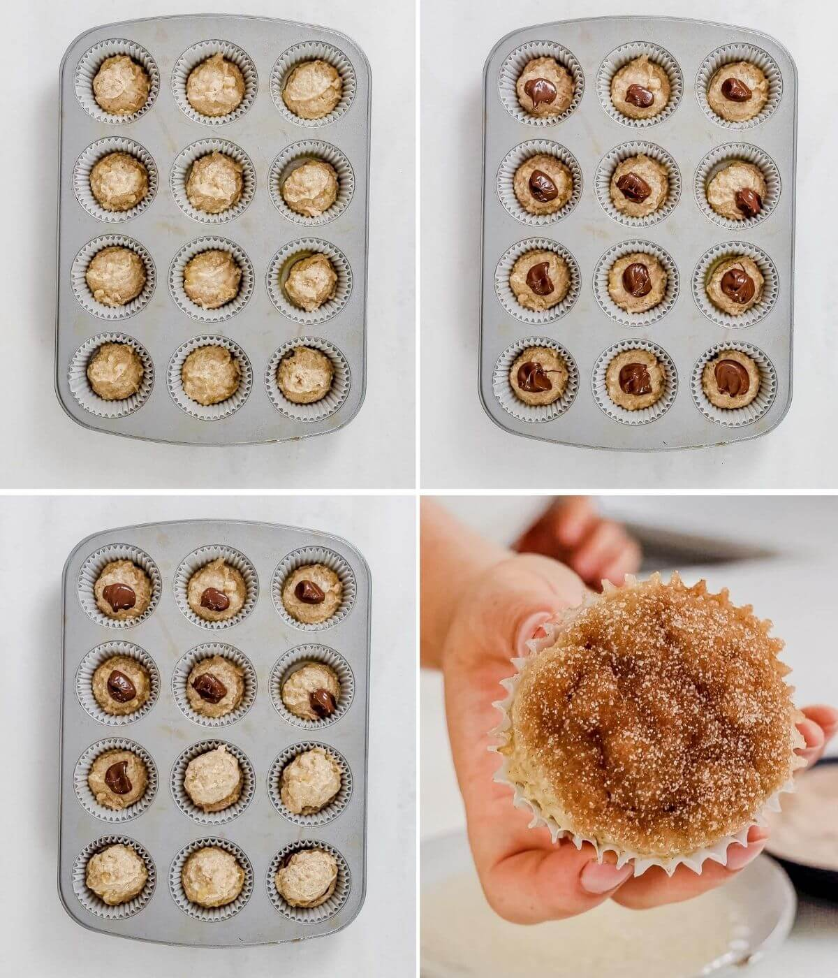step by step pictures showing how to stuff nutella in banana muffins