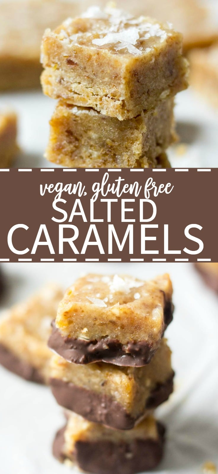 You will be amazed by these healthy caramels! They're made with tahini, dates and coconut oil. Blend all of the ingredients in the food process and freeze in a loaf pan. Sprinkle with sea salt and dunk them in dark chocolate. These easy healthy salted caramels will be your go to dessert recipe.
