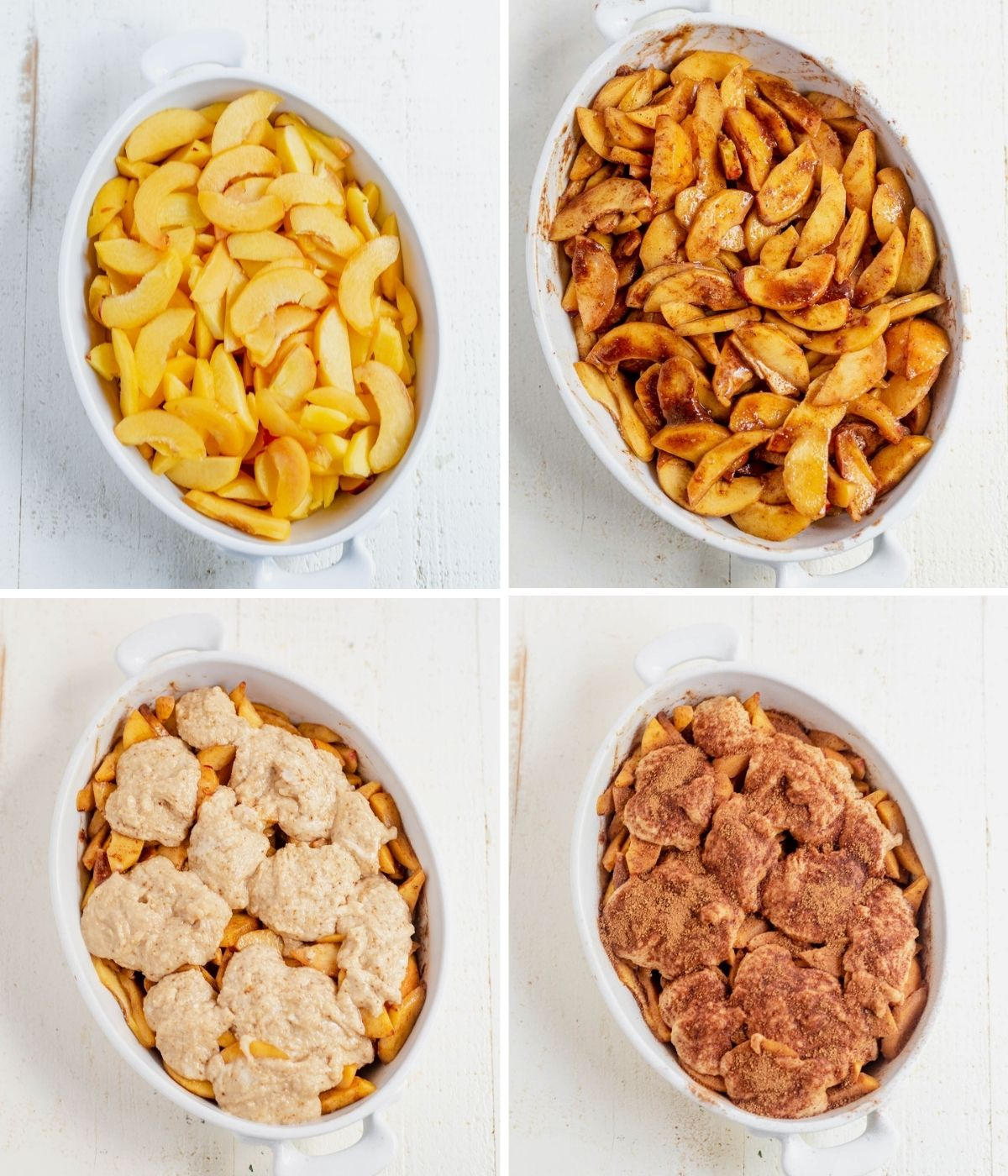 step by step images showing how to make gluten free peach cobbler