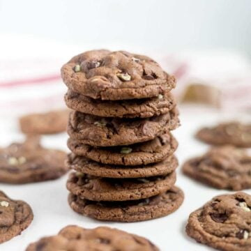 These Andes Mint cookies are a soft and chewy chocolate cookie sprinkled with Andes Mints. Make these cookies for your friends family, or your next holiday party. They're a great Christmas cookie because of the chocolate and mint!