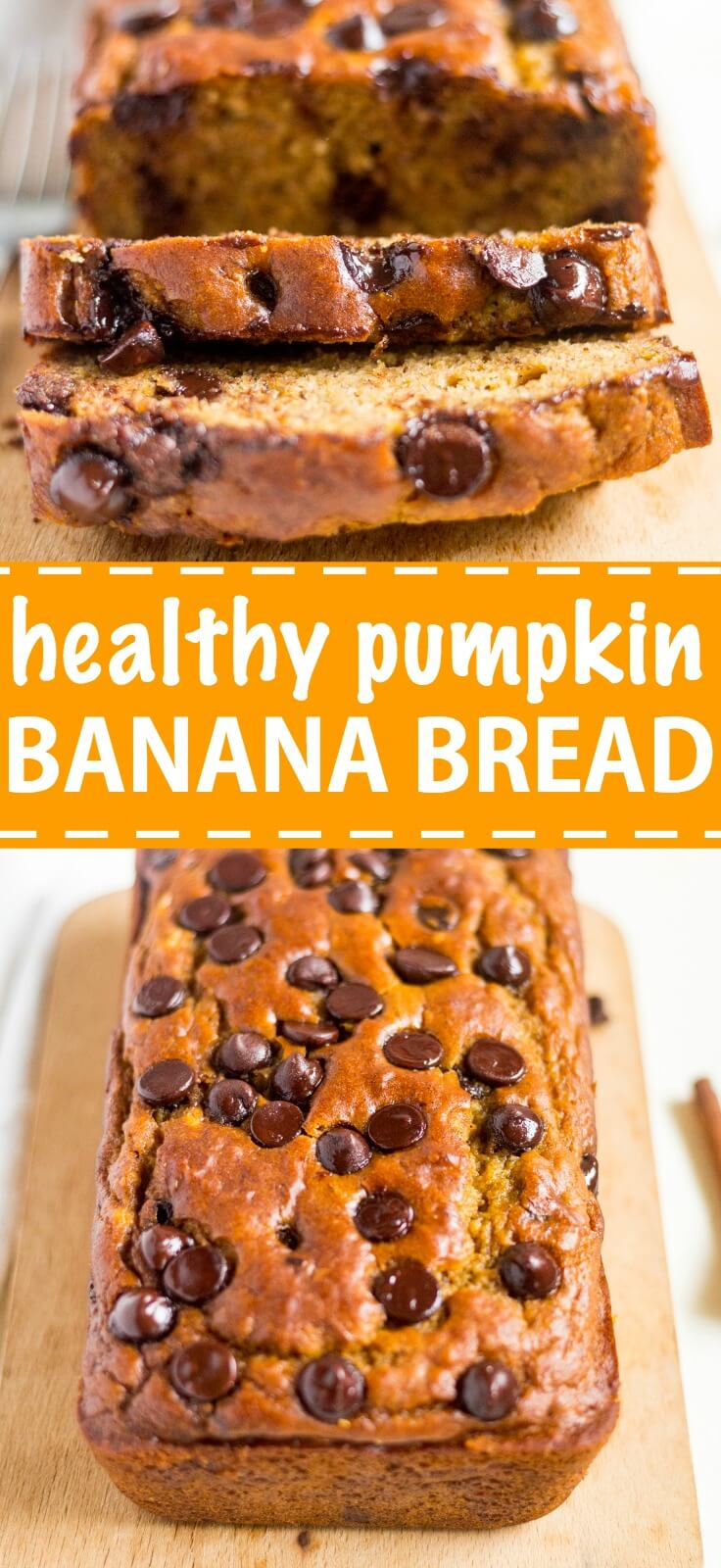 Healthy pumpkin banana bread is an easy and healthy recipe to make this fall! It's made with canned pumpkin, greek yogurt, coconut oil and optional chocolate chips for a healthy, but delicious pumpkin banana bread recipe.