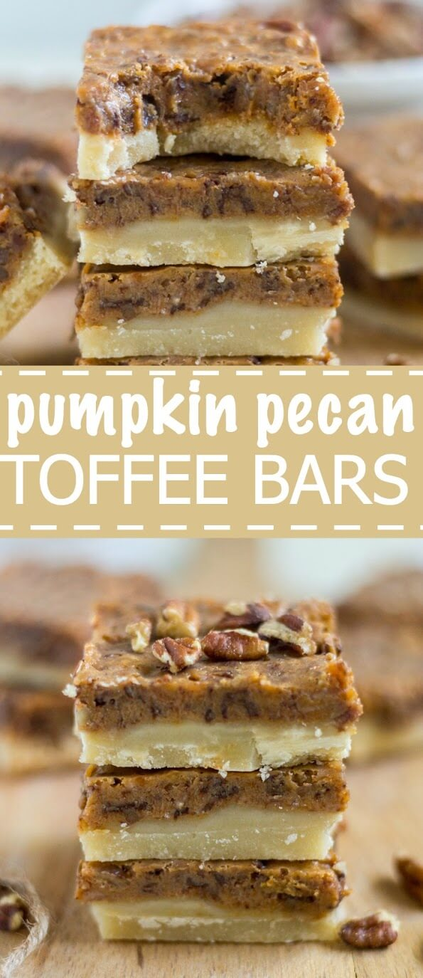 A thick and buttery shortbread crust topped with a pumpkin pecan toffee layer is a delicious fall treat. These pumpkin pecan toffee bars will be the thanksgiving dessert everyone will love! They're easy to make and freeze well to make ahead of time.
