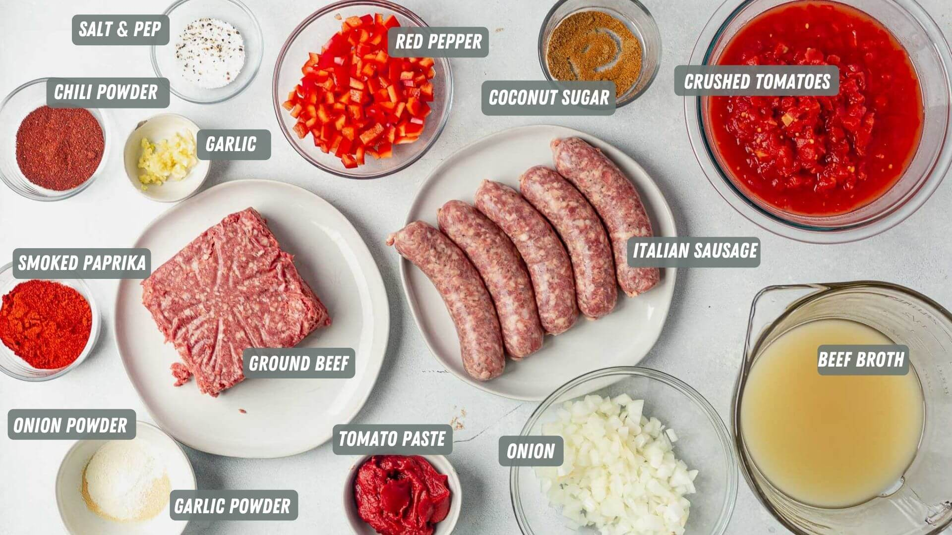 beanless chili ingredients measured out on a white table