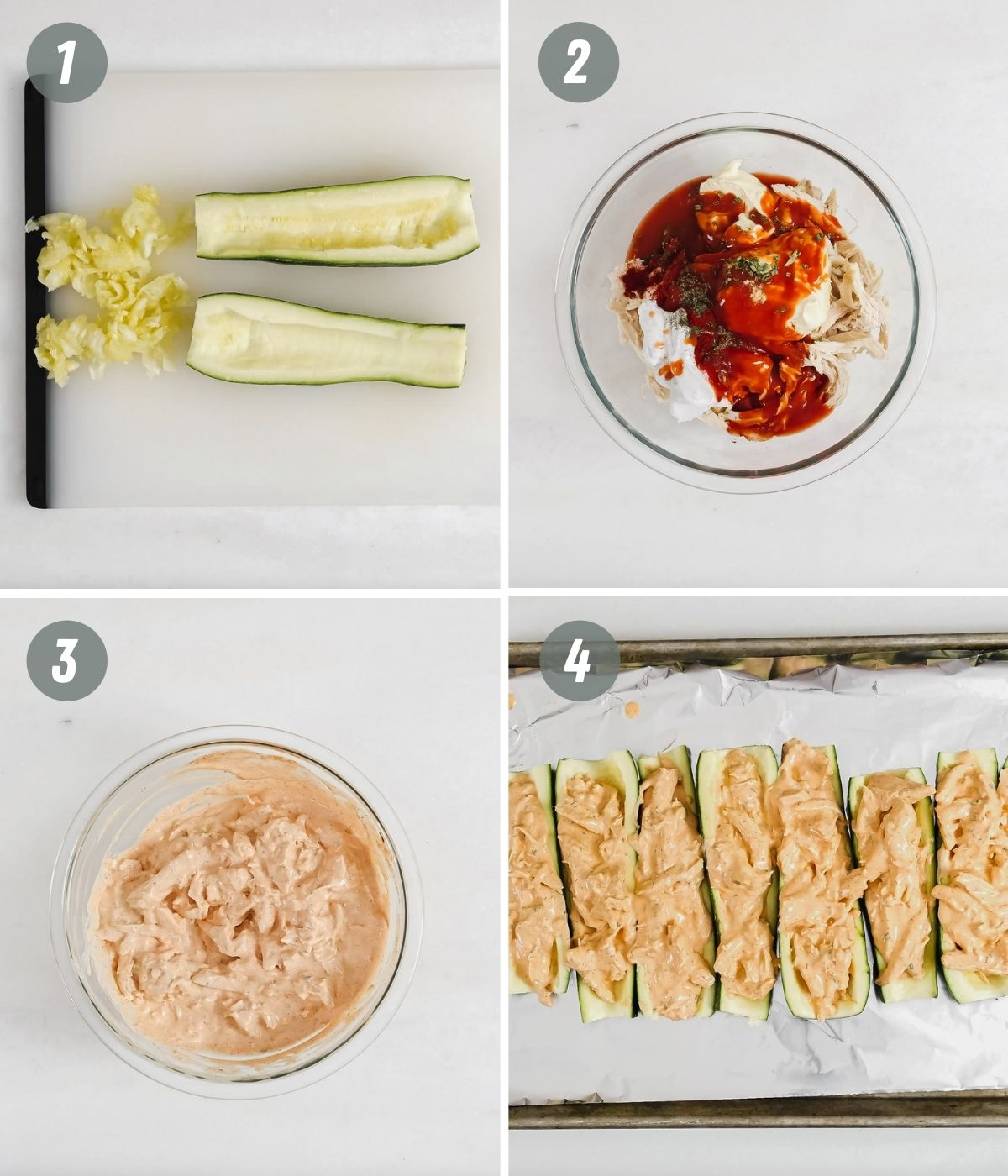 collage showing step by step pictures of how to make buffalo chicken zucchini boats