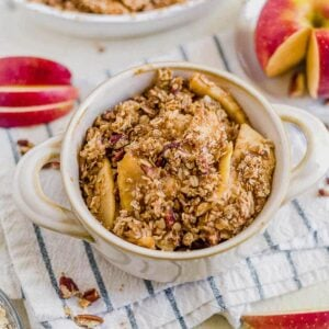 healthy apples crisp in a white bowl