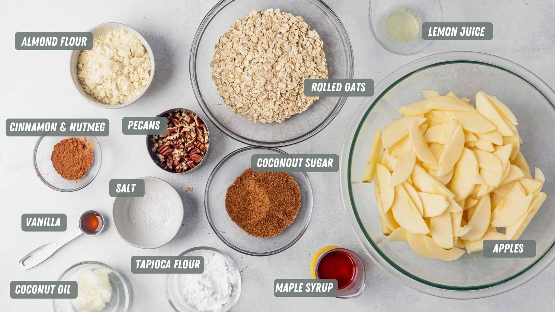 healthy apple crisp ingredients on a table
