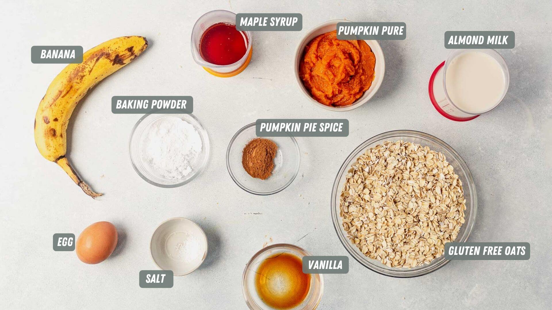 healthy pumpkin pancake ingredients measured out on a table