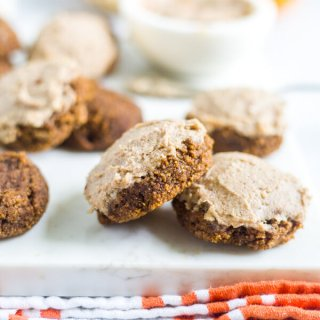healthy pumpkin cookies with cashew frosting