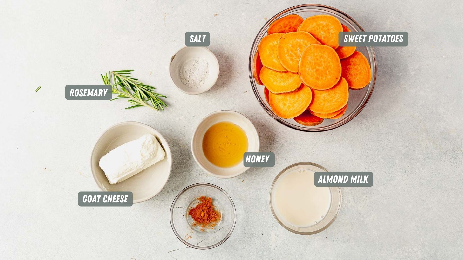 sweet potato bites ingredients measured out on a white table