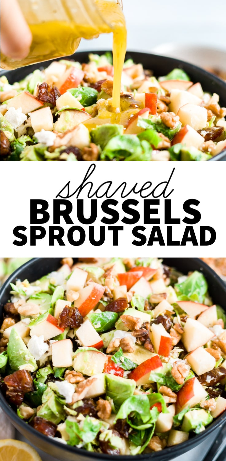 shaved brussel sprout salad with text over lay