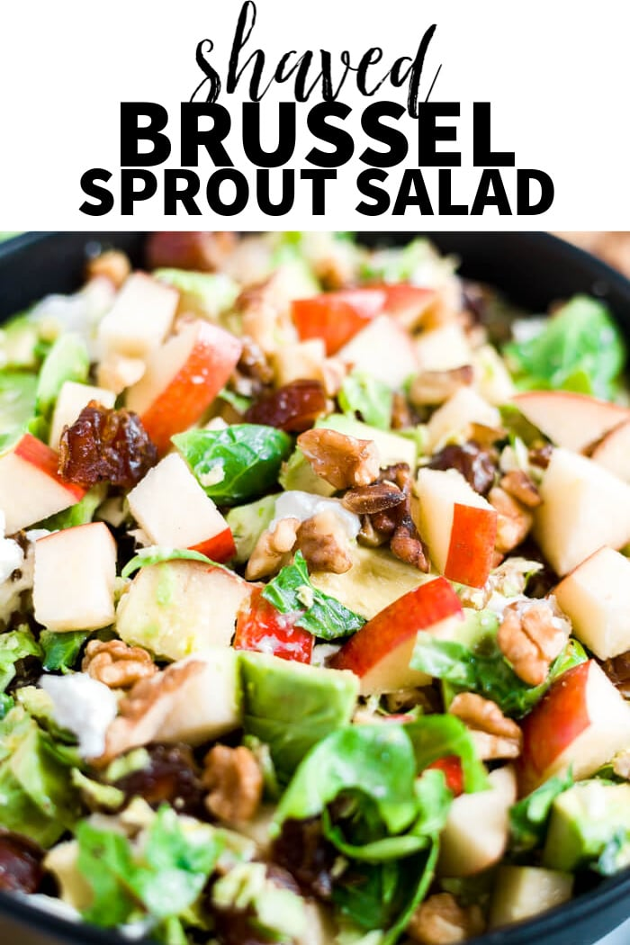 close up of apples, dates, walnuts, avocado on brussel sprout salad with a text overlay