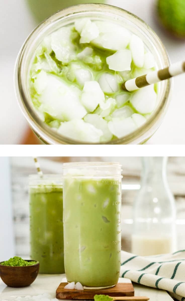collage of two images of iced matcha latte