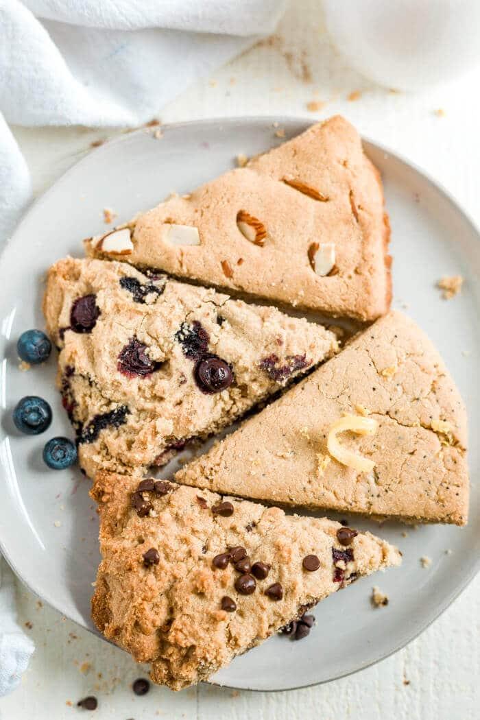 blueberry, lemon, chocolate chip and almond gluten free scones