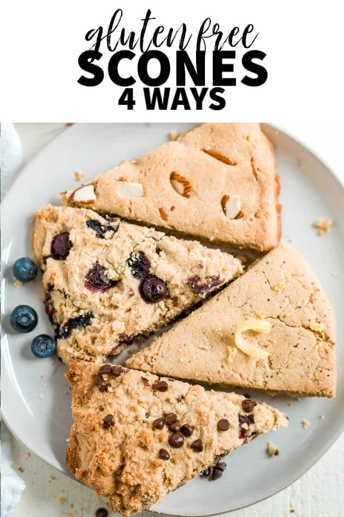 4 different gluten free scones on a plate with a text overlay