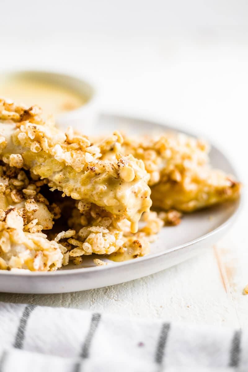 rice crispy chicken with healthy honey mustard