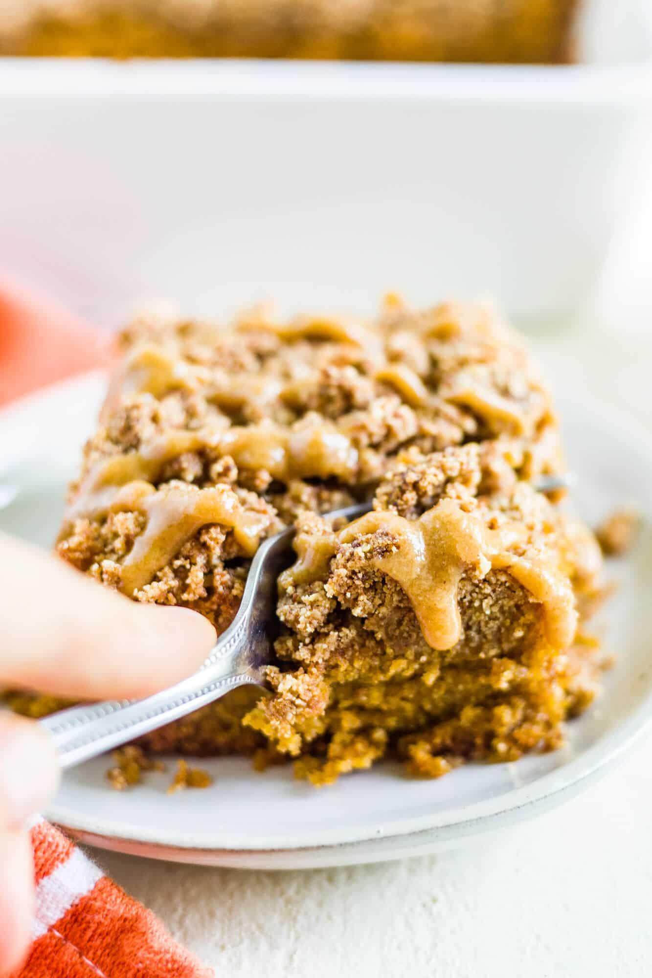 fork cutting a piece of pumpkin coffee cake recipe