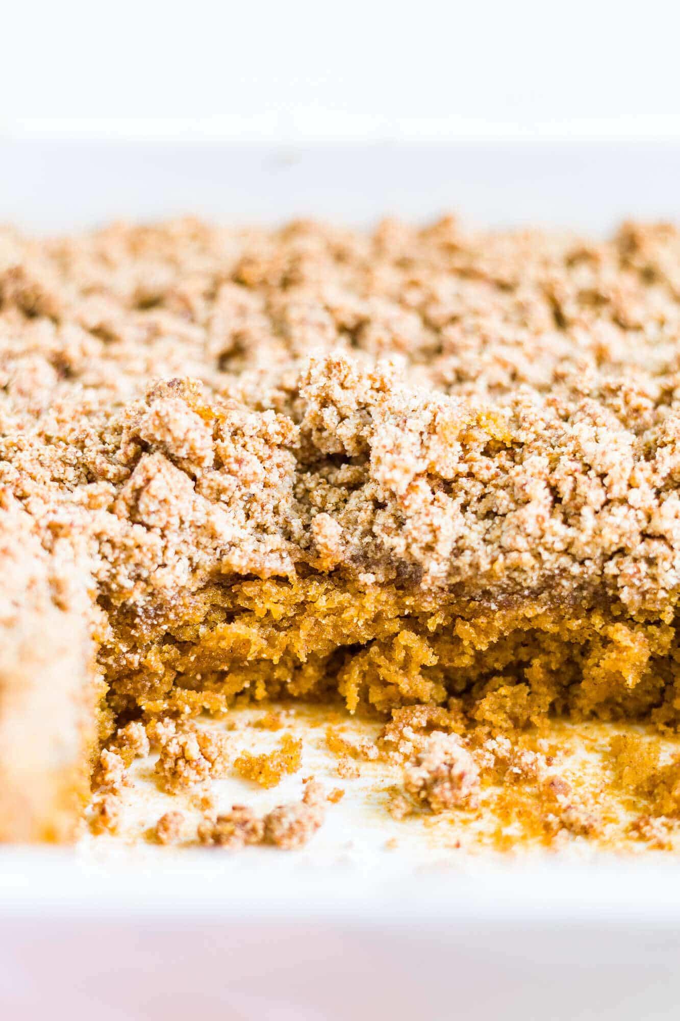 pumpkin streusel coffee cake in a 9x9 pan