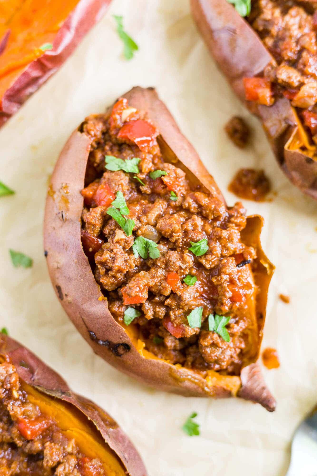 healthy sloppy joes in a roasted sweet potato