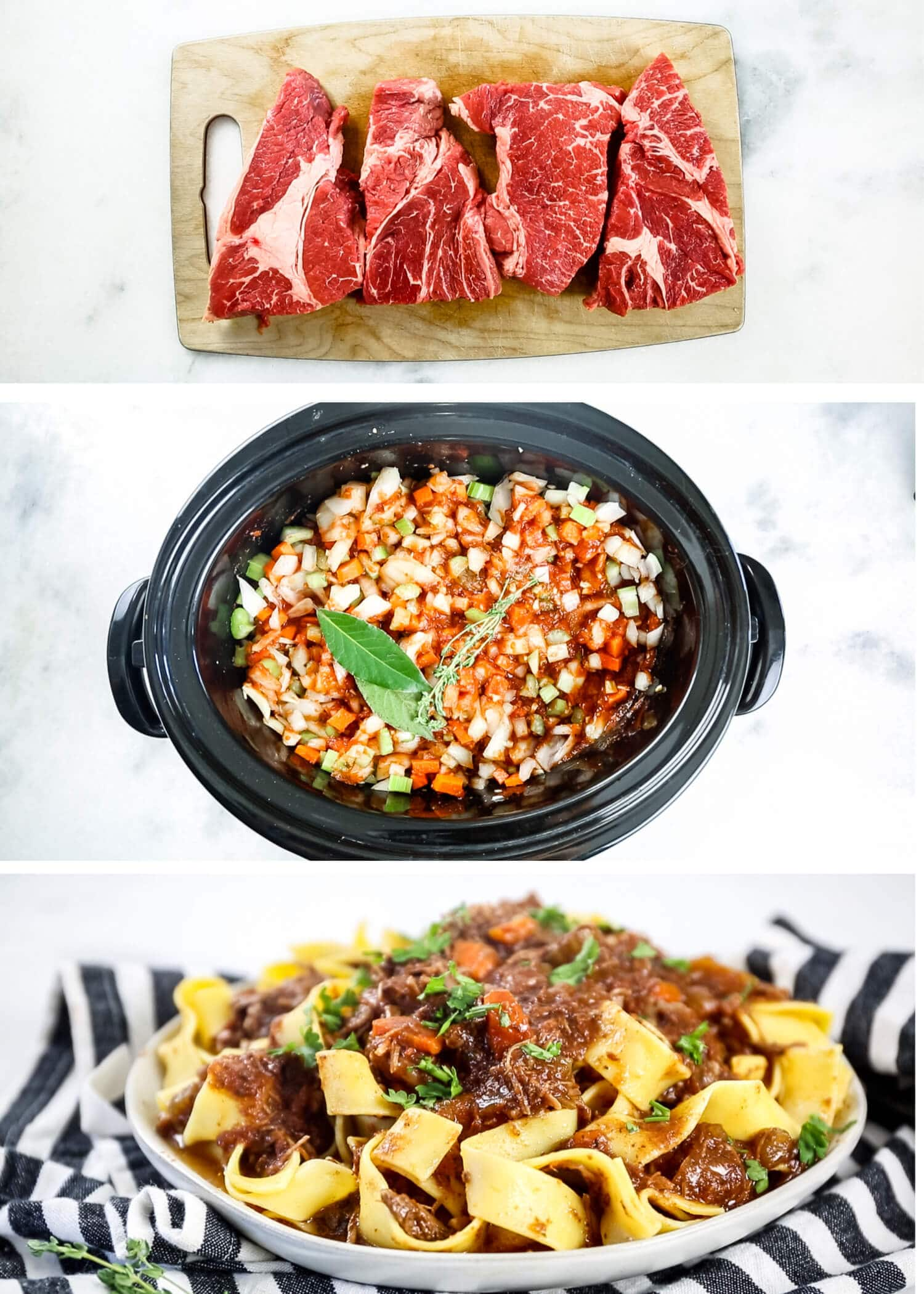 step by step pictures of how to make beef ragu including chuck roast, slow cooker ingredients and finished recipe