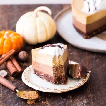 bakerita paleo pumpkin chocolate cheesecake on a plate