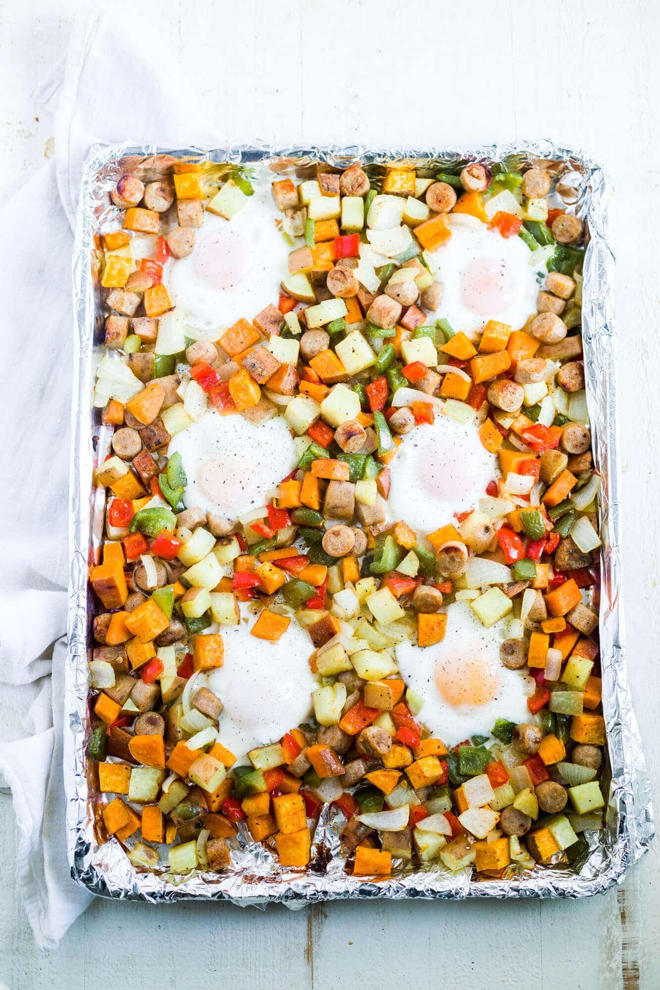 sweet potato breakfast hash on a sheet pan
