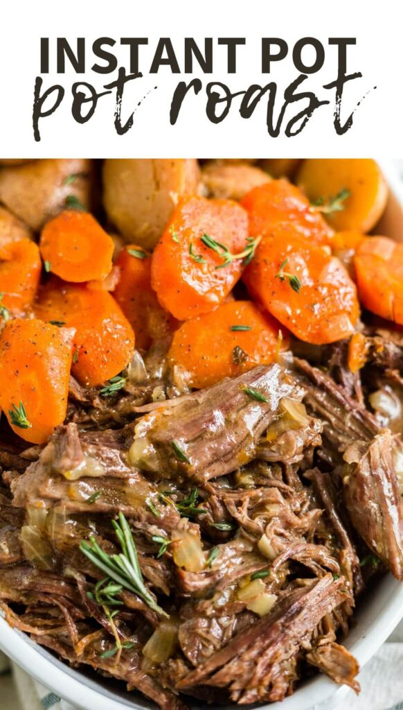 close up of instant pot pot roast with a label on the name on top