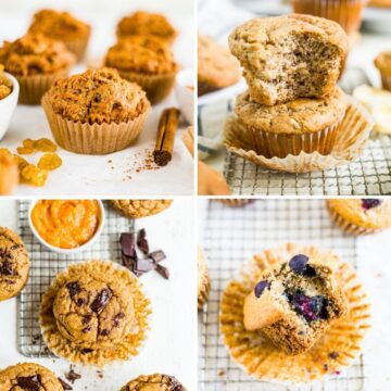 collage of 4 different healthy muffins for kids