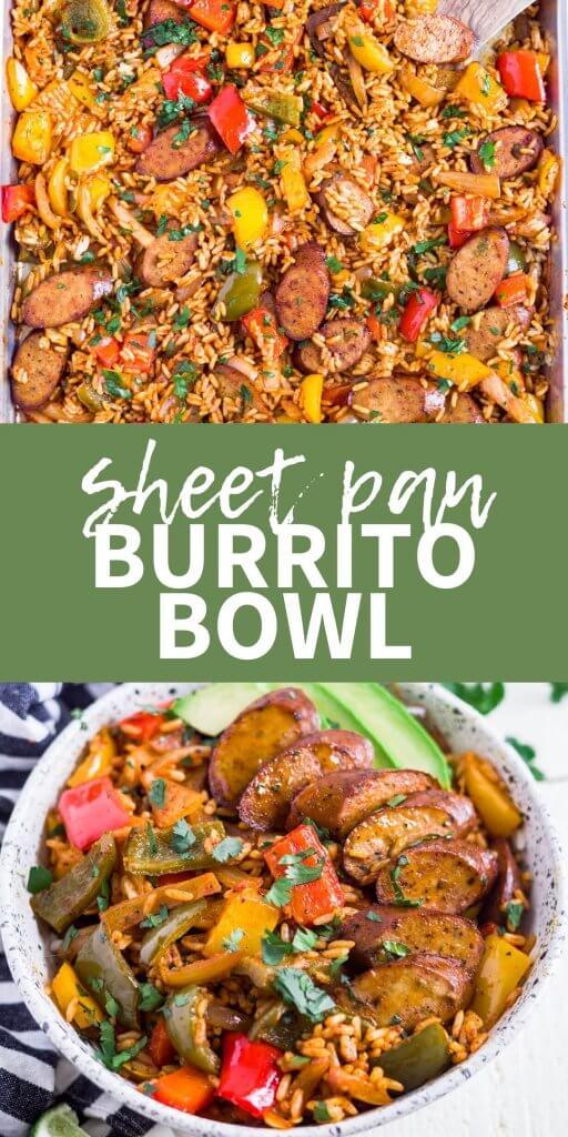 collage of sheet pan burrito bowl