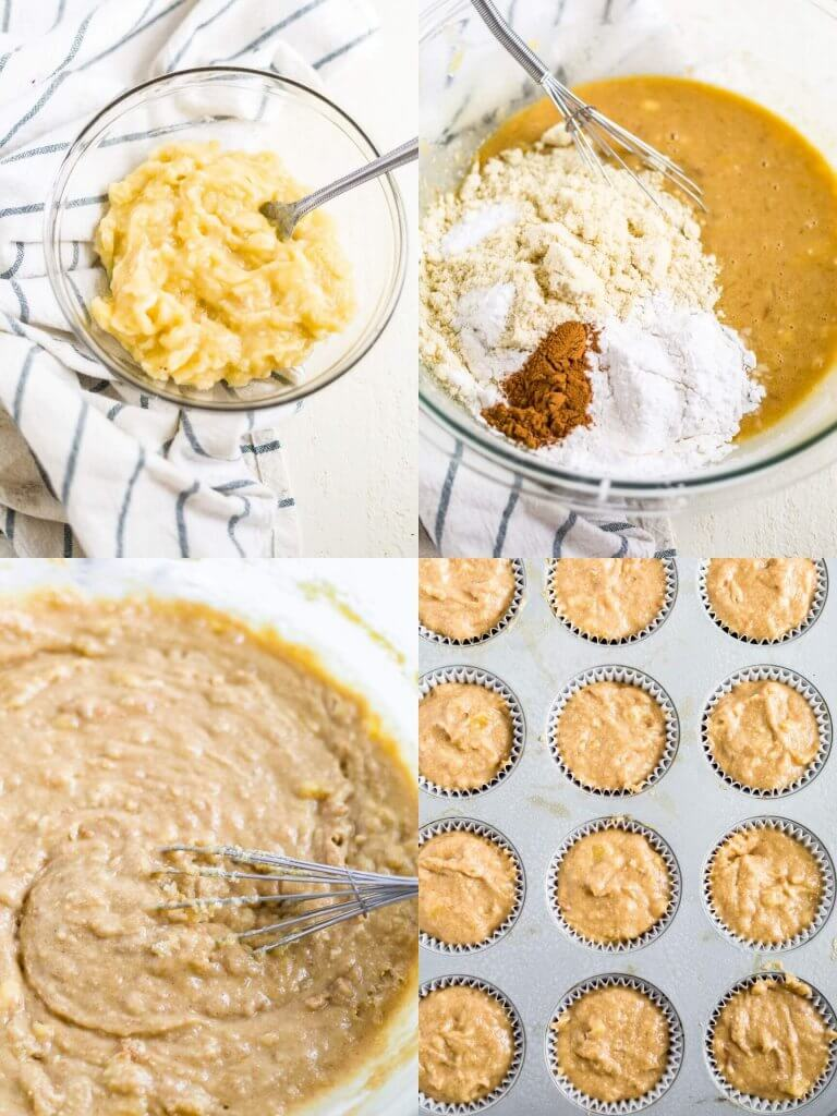 4 steps to healthy banana muffins with mashed banana, batter and muffin tins