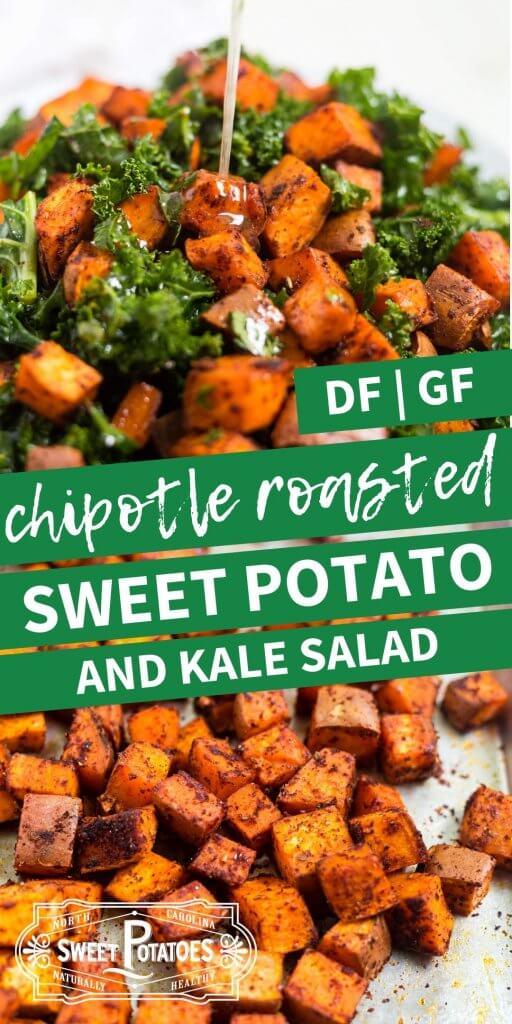 chipotle roasted sweet potato salad with massaged kale pinterest image
