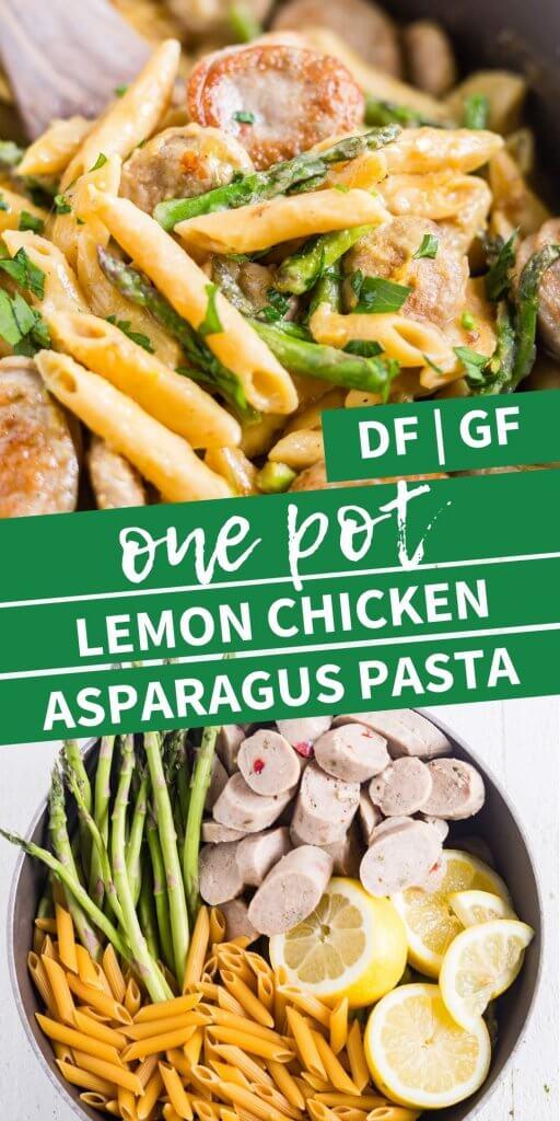 collage for one pot lemon chicken asparagus pasta