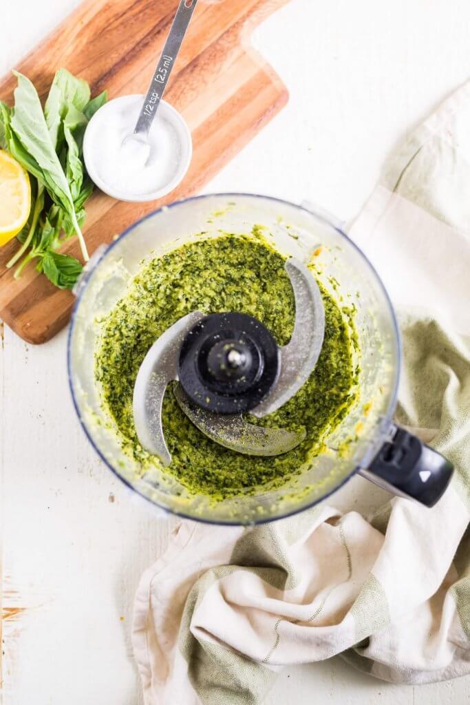 vegan pesto recipe in the food processor