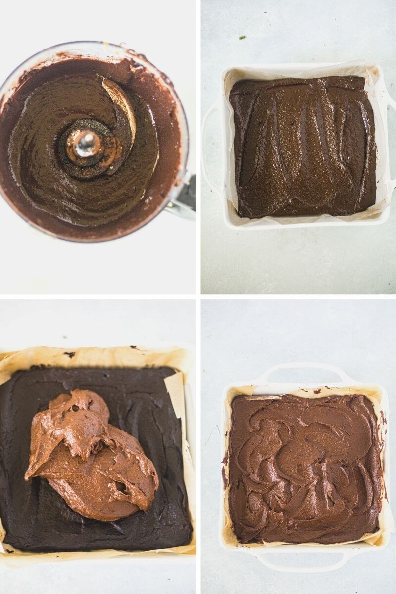 four step by step pictures showing how to make sweet potato chocolate cake with the batter and frosting