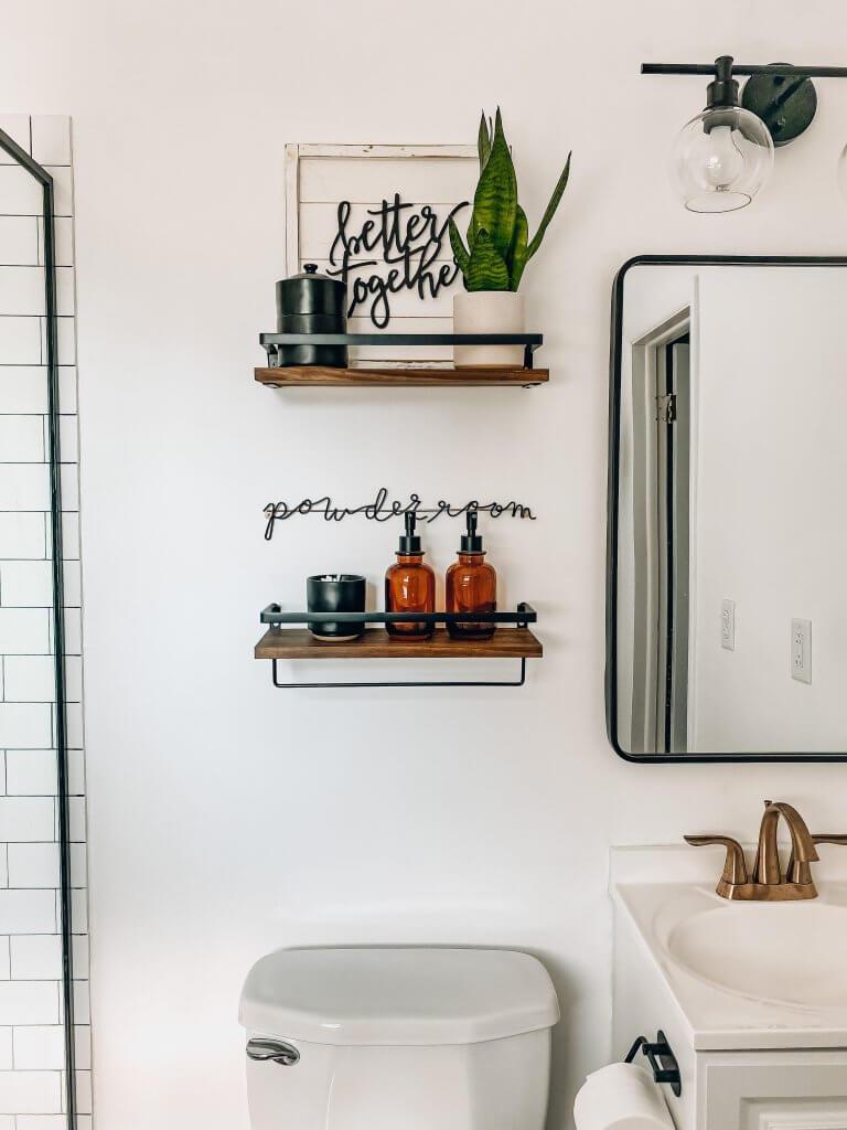 open shelves for master bathroom