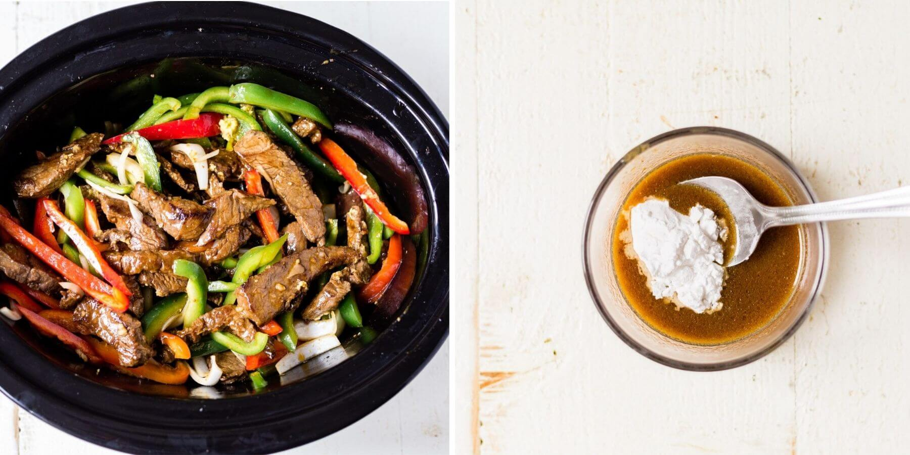 step by step showing how to slow cook pepper steak and thicken with cornstarch