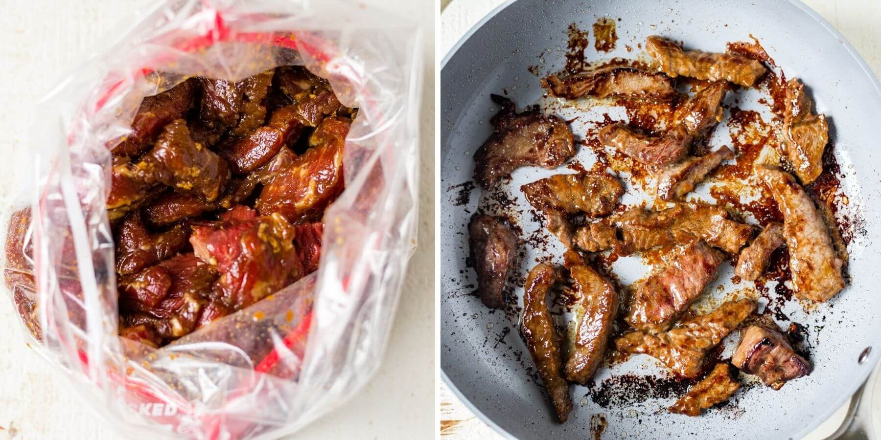 step by step showing how to marinade and sear crockpot pepper steak