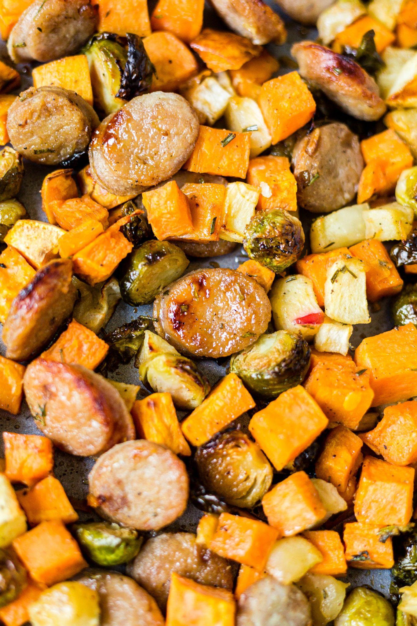maple dijon sausage and veggies on a sheet pan