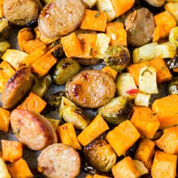 shee pan sausage and veggies with sweet potatoes and brussels sprouts