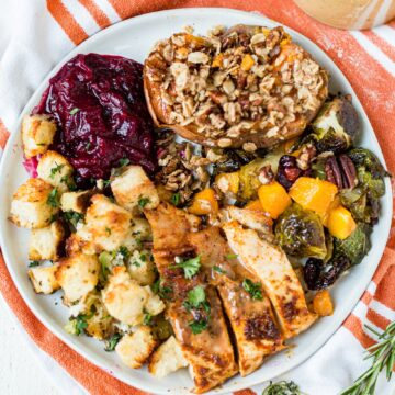 easy thanksgiving dinner recipes on a white plate with a orange napking