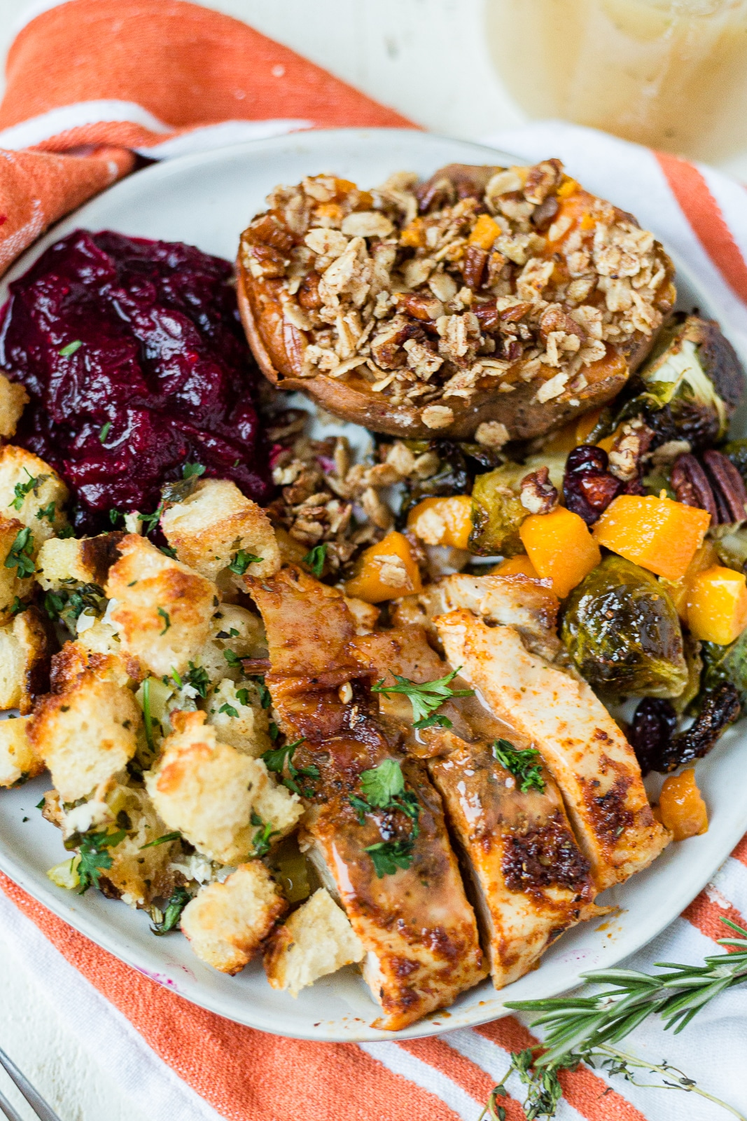 roasted turkey breast and all the sides for an easy thanksgiving dinner