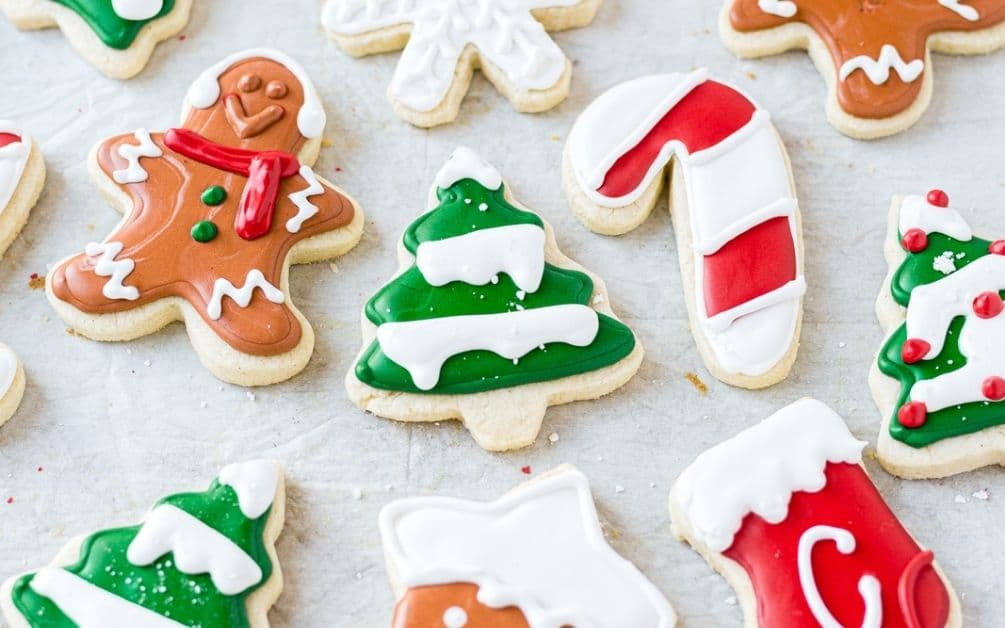 gluten free christmas cookies iced with royal frosting