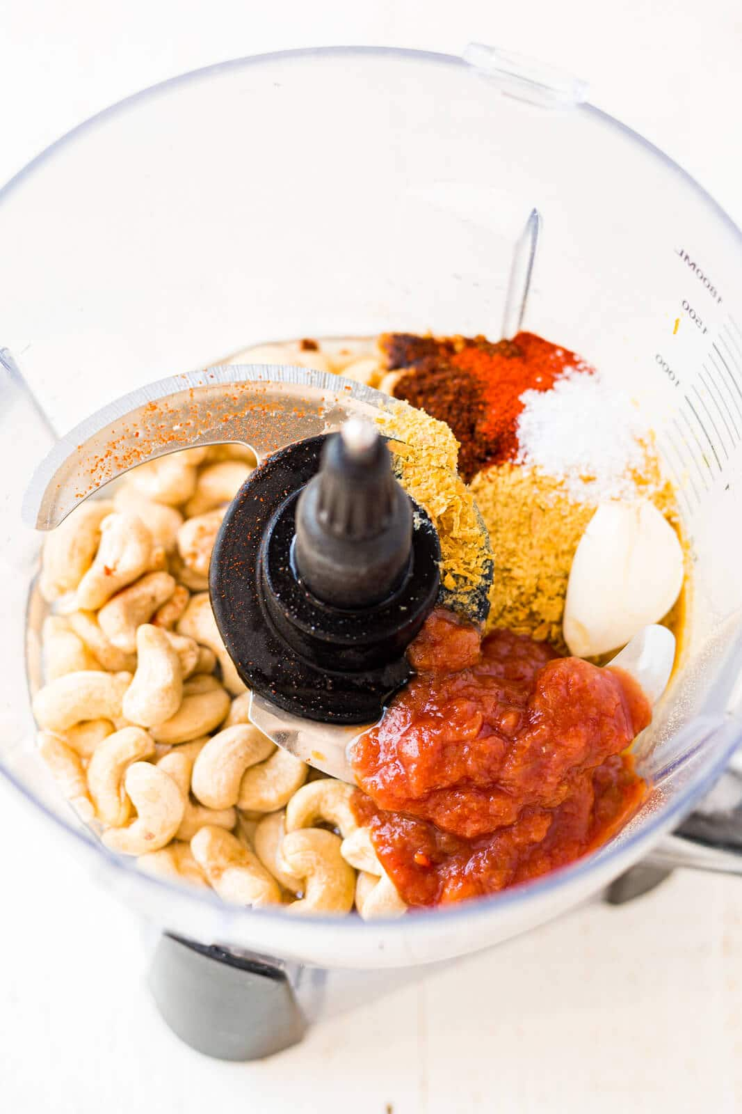 ingredients for cashew queso in the food processor