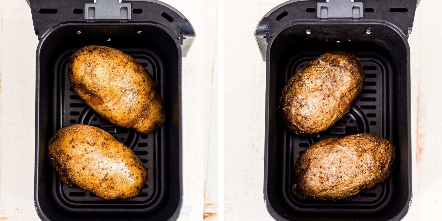 collage of 2 baked potatoes in the drawer of an air fryer with one showing before they are cooked and one after they're done air frying