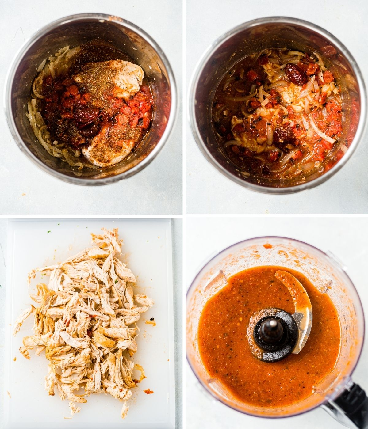 steps showing how to make chicken tinga in the instant pot