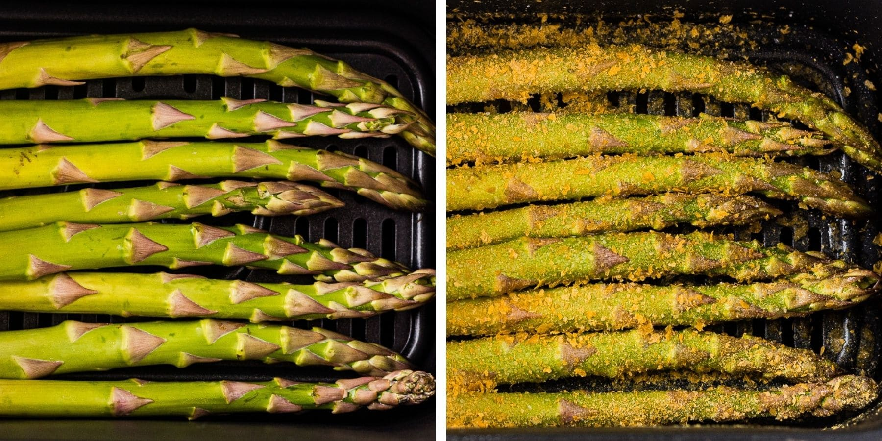 before and after images of air fryer asparagus before its cooked and after