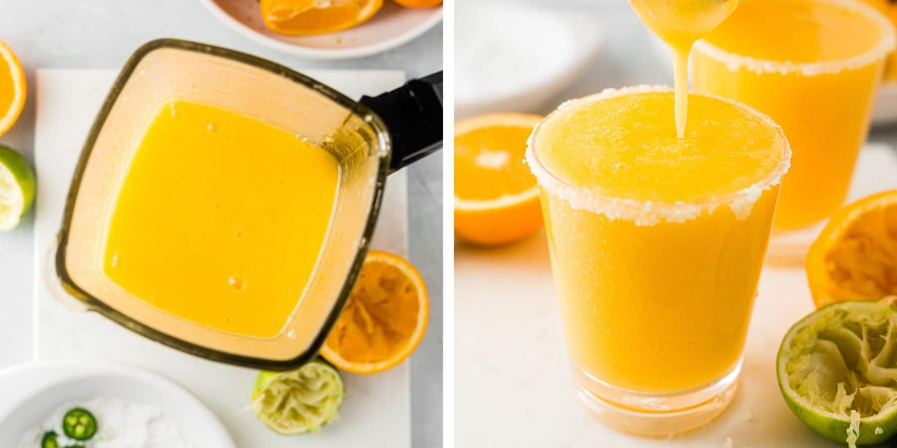 step by step images showing you how to blend frozen mango margaritas and pouring it into a glass rimmed with salt